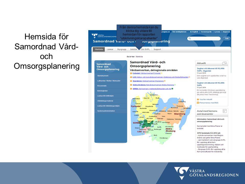 Hemsida för Samordnad Vård- och Omsorgsplanering Från denna hemsida kan du klicka dig vidare till hemsidan för rapporten utskrivningsklarapatienter