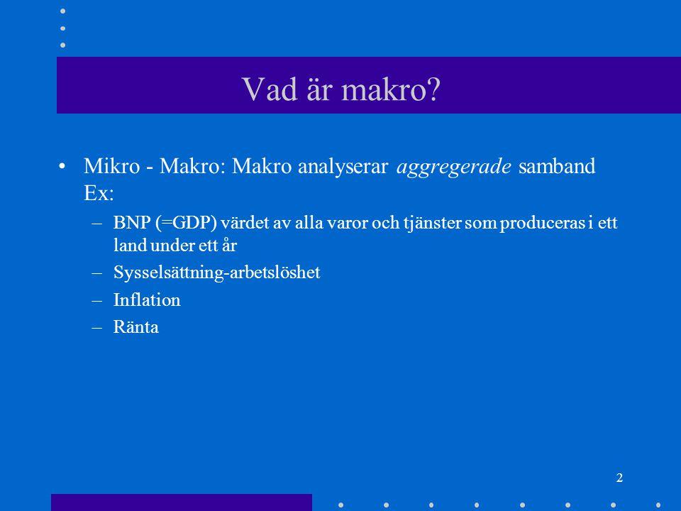 1 Kursens Mål Allmänbildning Att kunna läsa tidningarnas ekonomisidor etc. Att lära ut redskap (modeller) som kan användas för att göra en självständig analys av ekonomin.