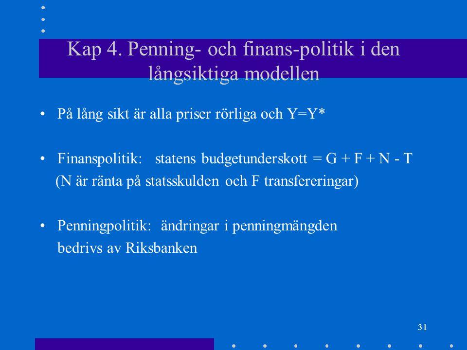 30 Endogen tillväxtteori Modellen har konstant tillväxt i A och därför i Y.