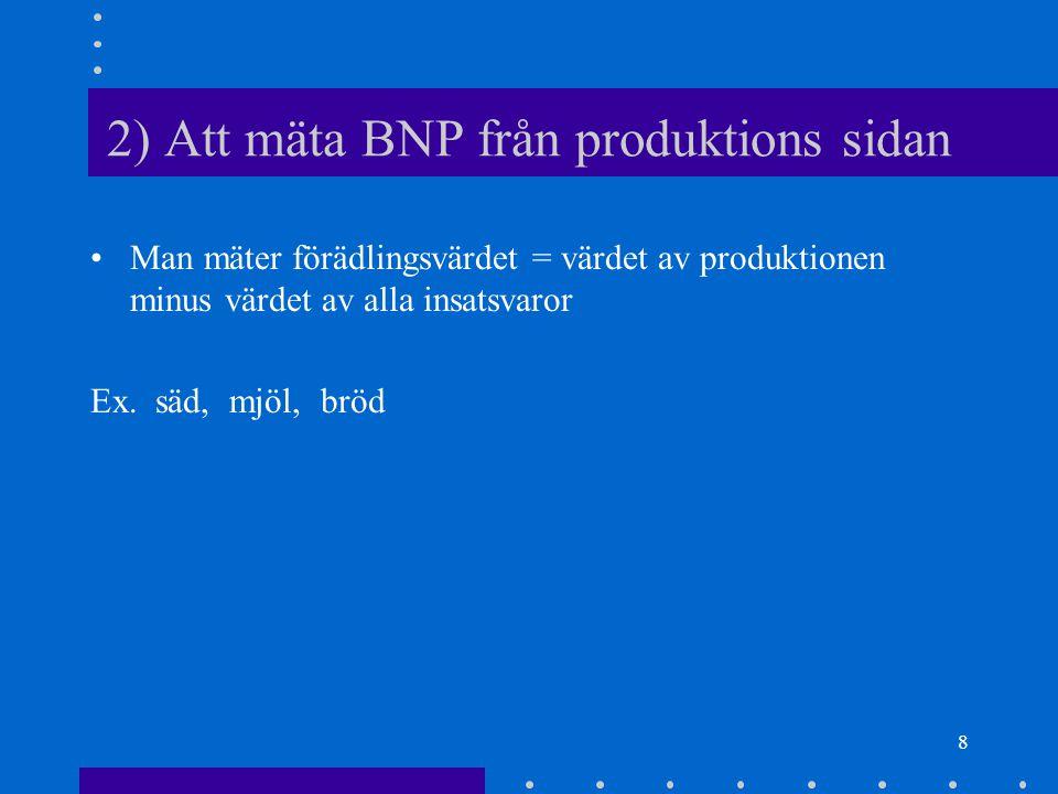 8 2) Att mäta BNP från produktions sidan Man mäter förädlingsvärdet = värdet av produktionen minus värdet av alla insatsvaror Ex.