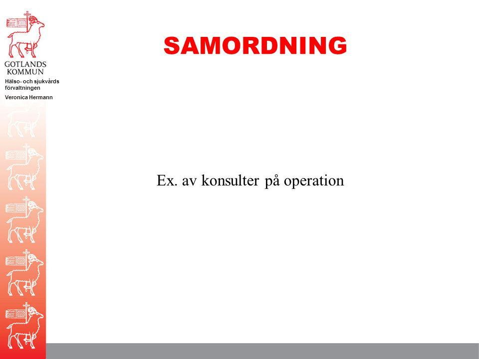 Hälso- och sjukvårds förvaltningen Veronica Hermann SAMORDNING Ex. av konsulter på operation