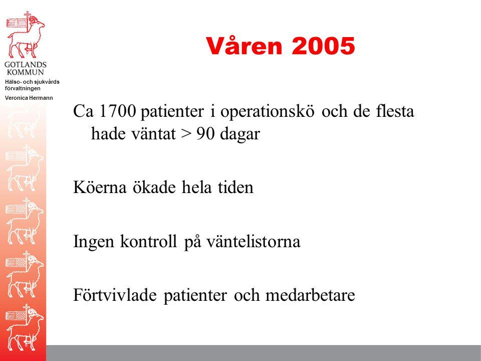 Hälso- och sjukvårds förvaltningen Veronica Hermann Våren 2005 Ca 1700 patienter i operationskö och de flesta hade väntat > 90 dagar Köerna ökade hela