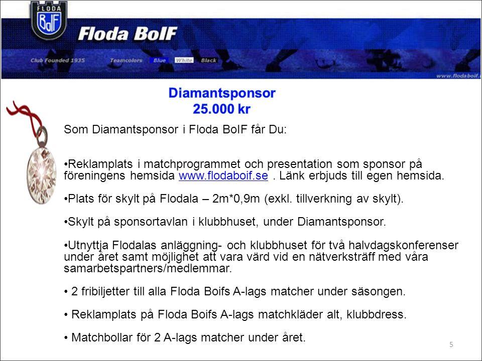 Som Diamantsponsor i Floda BoIF får Du: Reklamplats i matchprogrammet och presentation som sponsor på föreningens hemsida www.flodaboif.se.