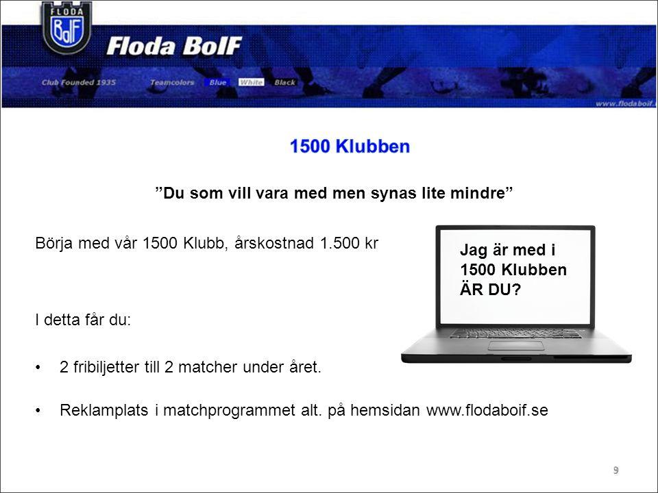 Annonsplats i spelarprogram 500 kr.Reklamskylt 4.000 kr.