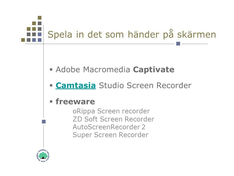 Spela in det som händer på skärmen  Adobe Macromedia Captivate  Camtasia Studio Screen RecorderCamtasia  freeware oRippa Screen recorder ZD Soft Screen Recorder AutoScreenRecorder 2 Super Screen Recorder