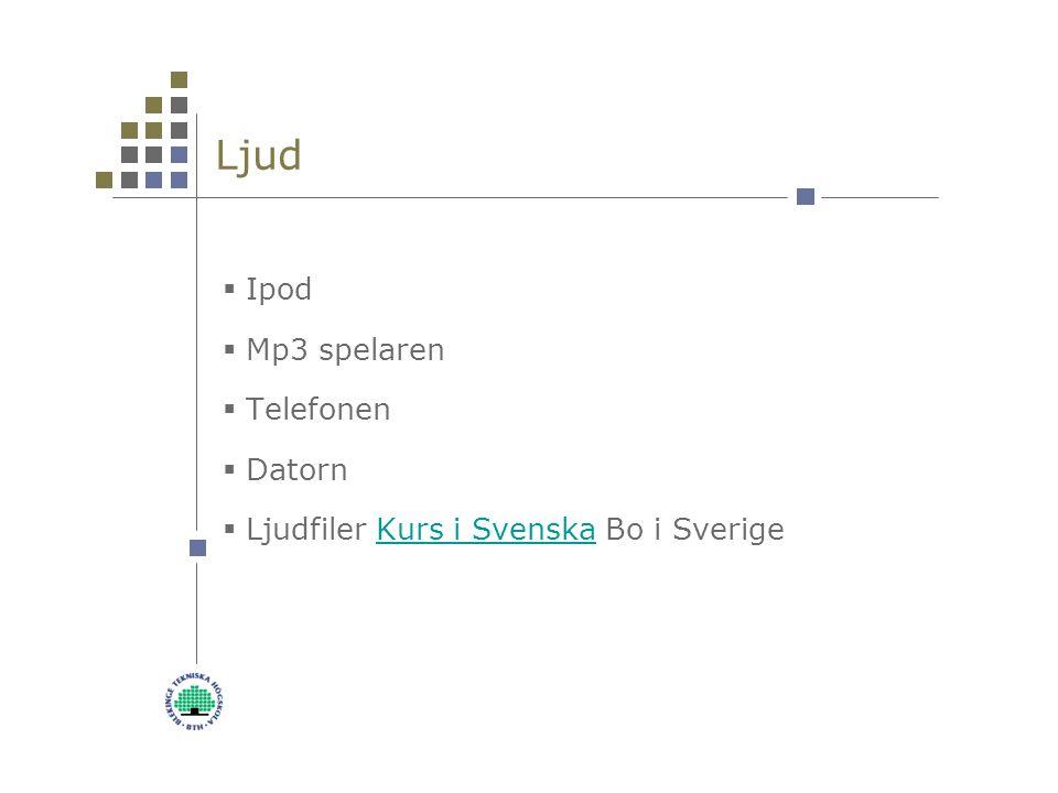 Ljud  Ipod  Mp3 spelaren  Telefonen  Datorn  Ljudfiler Kurs i Svenska Bo i Sverige Kurs i Svenska