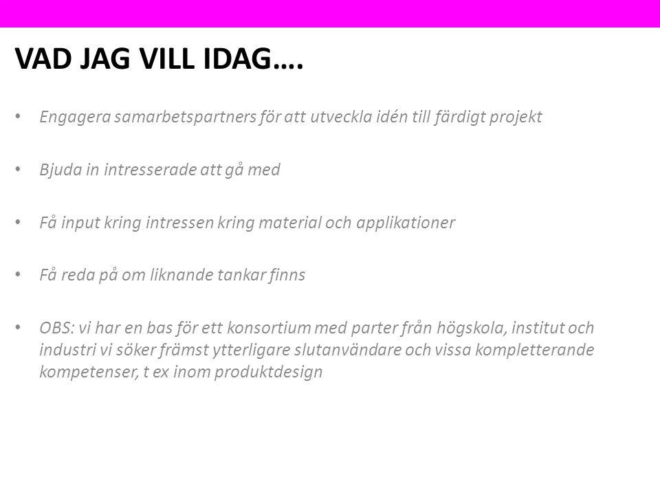 VAD JAG VILL IDAG….