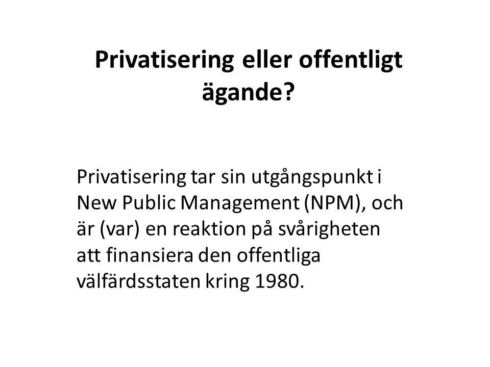 Privatisering eller offentligt ägande.
