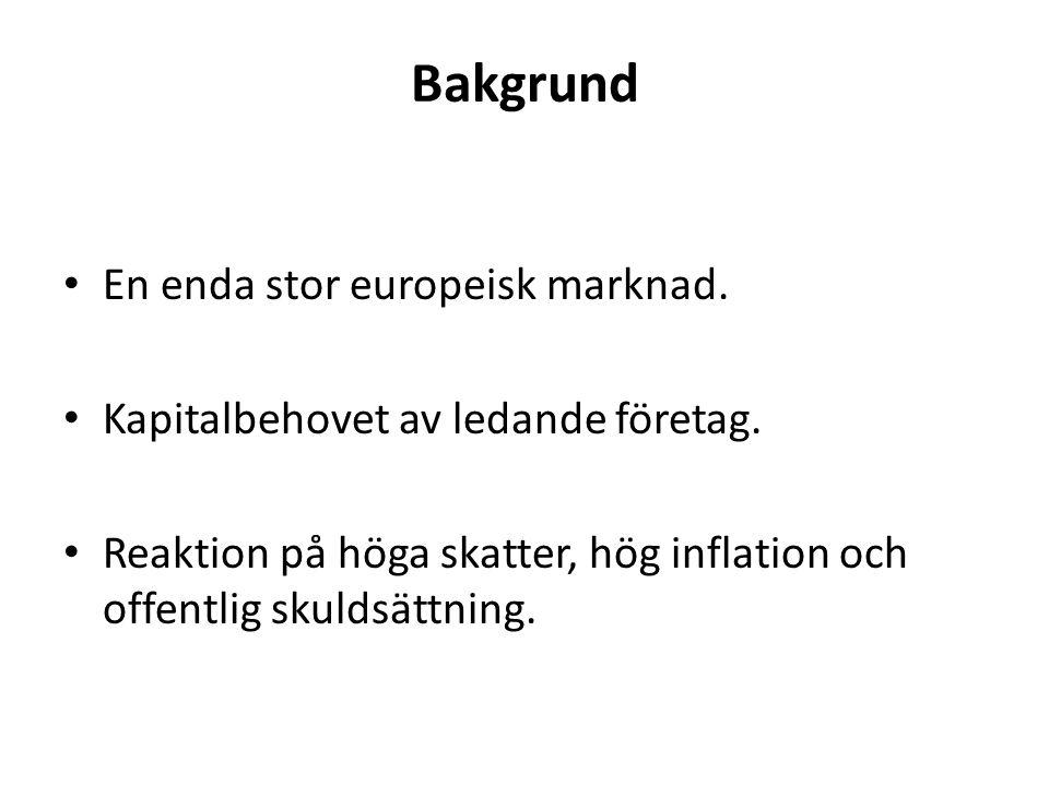 Bakgrund En enda stor europeisk marknad. Kapitalbehovet av ledande företag.