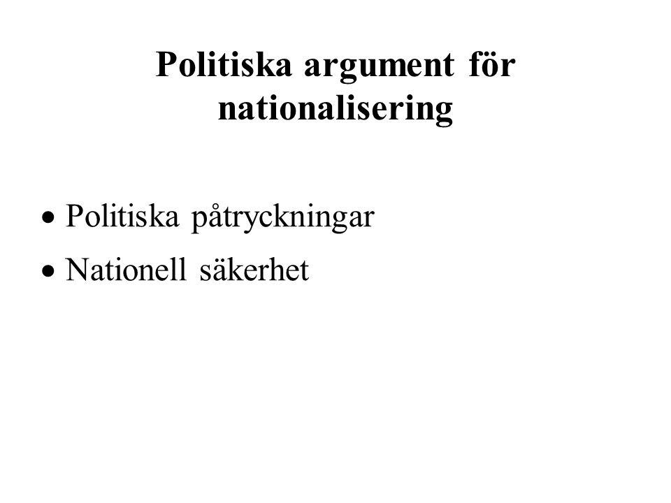 Politiska argument för nationalisering  Politiska påtryckningar  Nationell säkerhet