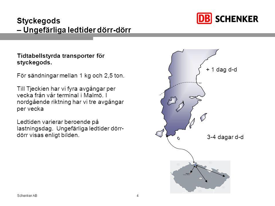 Partigods och hellaster – Ungefärliga ledtider dörr-dörr Partier och hellaster produceras dagligen till och från Tjeckien.