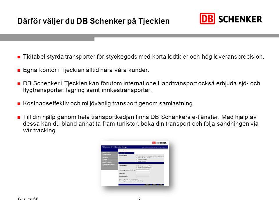Därför väljer du DB Schenker på Tjeckien Tidtabellstyrda transporter för styckegods med korta ledtider och hög leveransprecision.