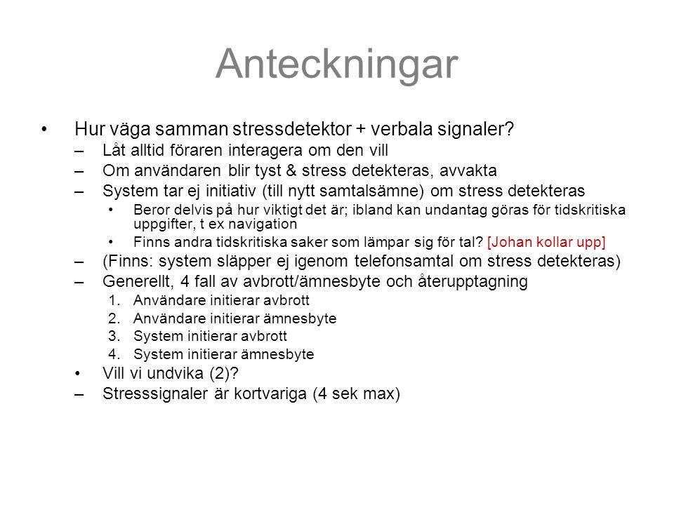 Anteckningar Hur väga samman stressdetektor + verbala signaler.