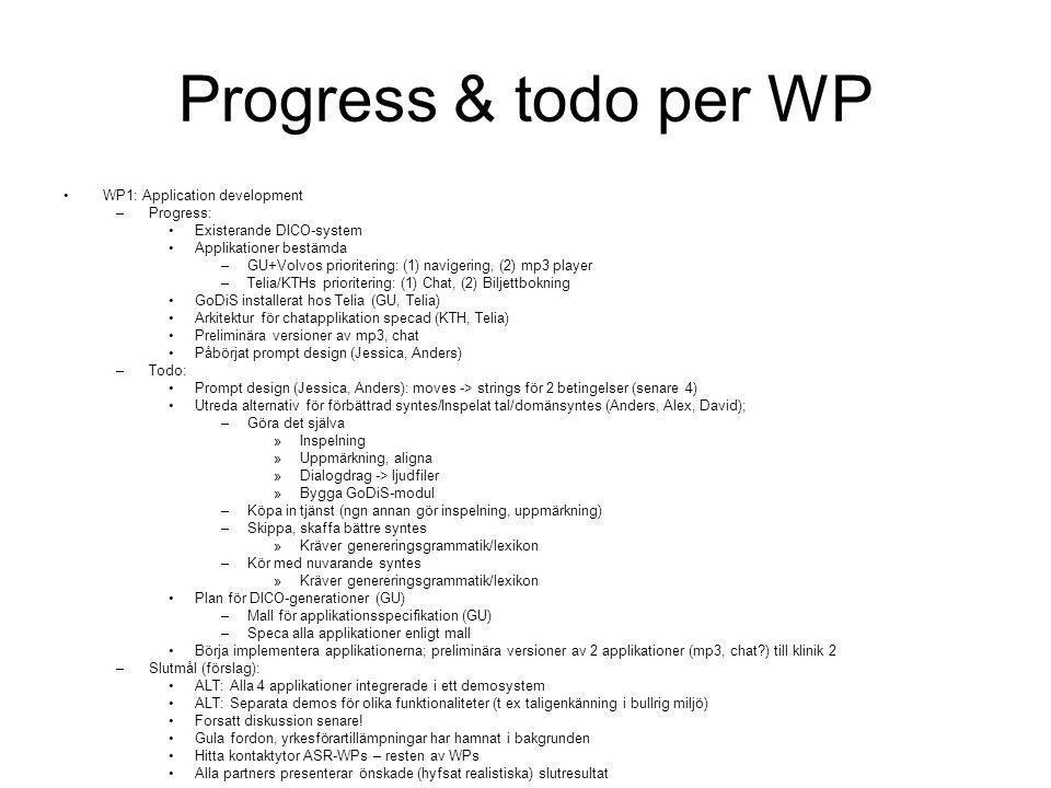 Progress & todo per WP WP1: Application development –Progress: Existerande DICO-system Applikationer bestämda –GU+Volvos prioritering: (1) navigering, (2) mp3 player –Telia/KTHs prioritering: (1) Chat, (2) Biljettbokning GoDiS installerat hos Telia (GU, Telia) Arkitektur för chatapplikation specad (KTH, Telia) Preliminära versioner av mp3, chat Påbörjat prompt design (Jessica, Anders) –Todo: Prompt design (Jessica, Anders): moves -> strings för 2 betingelser (senare 4) Utreda alternativ för förbättrad syntes/Inspelat tal/domänsyntes (Anders, Alex, David); –Göra det själva »Inspelning »Uppmärkning, aligna »Dialogdrag -> ljudfiler »Bygga GoDiS-modul –Köpa in tjänst (ngn annan gör inspelning, uppmärkning) –Skippa, skaffa bättre syntes »Kräver genereringsgrammatik/lexikon –Kör med nuvarande syntes »Kräver genereringsgrammatik/lexikon Plan för DICO-generationer (GU) –Mall för applikationsspecifikation (GU) –Speca alla applikationer enligt mall Börja implementera applikationerna; preliminära versioner av 2 applikationer (mp3, chat ) till klinik 2 –Slutmål (förslag): ALT: Alla 4 applikationer integrerade i ett demosystem ALT: Separata demos för olika funktionaliteter (t ex taligenkänning i bullrig miljö) Forsatt diskussion senare.