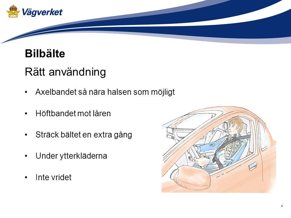 4 Rätt användning Axelbandet så nära halsen som möjligt Höftbandet mot låren Sträck bältet en extra gång Under ytterkläderna Inte vridet Bilbälte