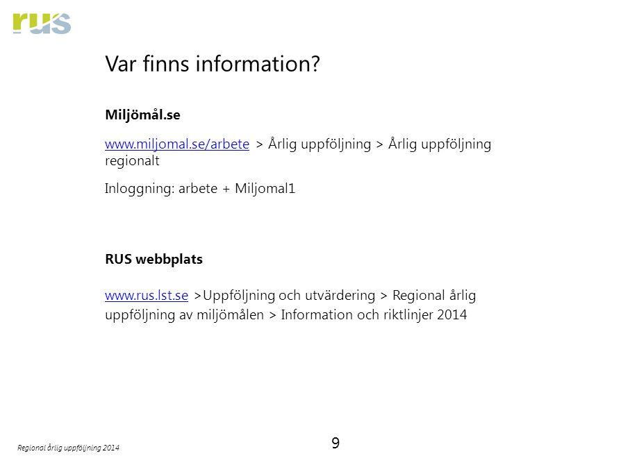 9 Regional årlig uppföljning 2014 Var finns information.