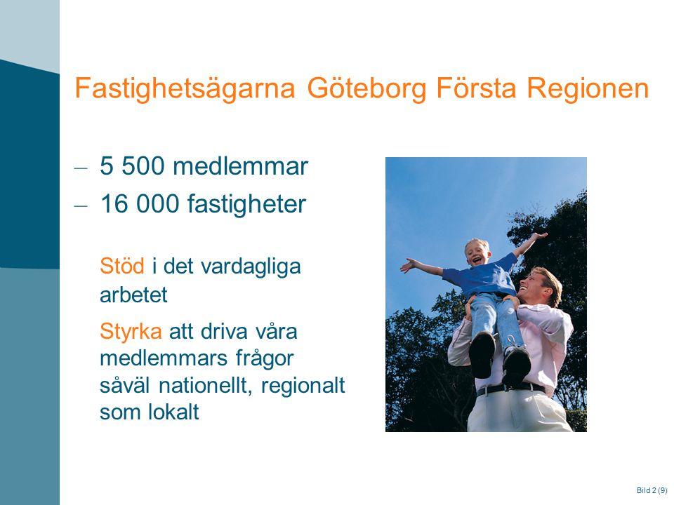 Fastighetsägarna Göteborg Första Regionen – 5 500 medlemmar – 16 000 fastigheter Stöd i det vardagliga arbetet Styrka att driva våra medlemmars frågor