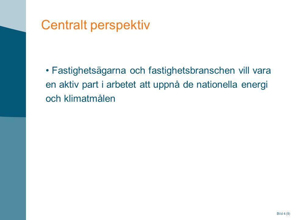 Bild 4 (9) Centralt perspektiv Fastighetsägarna och fastighetsbranschen vill vara en aktiv part i arbetet att uppnå de nationella energi och klimatmålen
