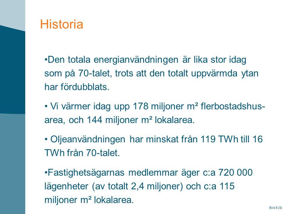 Bild 5 (9) Historia Den totala energianvändningen är lika stor idag som på 70-talet, trots att den totalt uppvärmda ytan har fördubblats. Vi värmer id