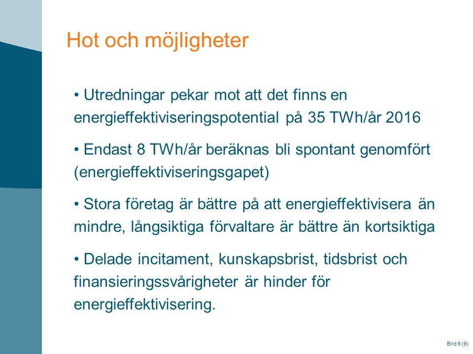 Bild 6 (9) Hot och möjligheter Utredningar pekar mot att det finns en energieffektiviseringspotential på 35 TWh/år 2016 Endast 8 TWh/år beräknas bli s