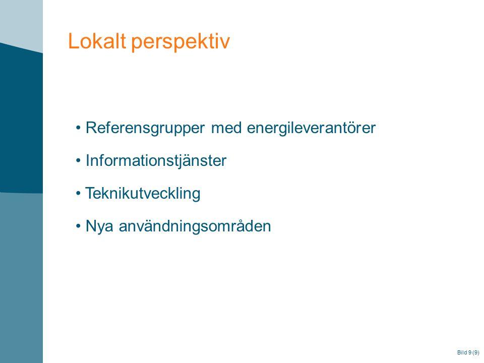 Bild 9 (9) Lokalt perspektiv Referensgrupper med energileverantörer Informationstjänster Teknikutveckling Nya användningsområden