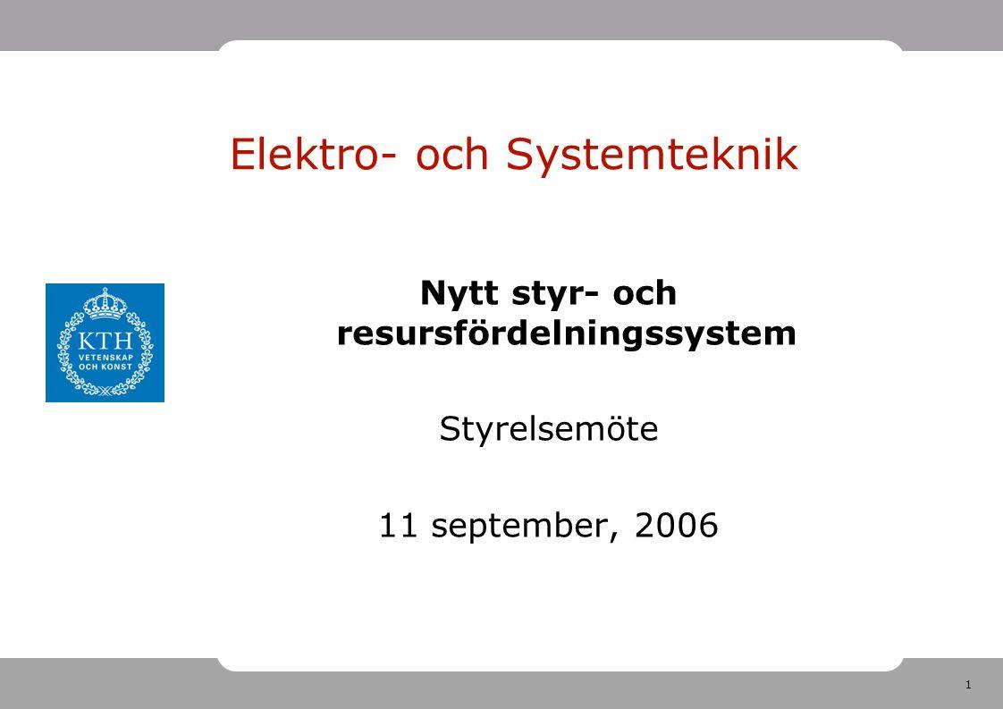 1 Elektro- och Systemteknik Nytt styr- och resursfördelningssystem Styrelsemöte 11 september, 2006