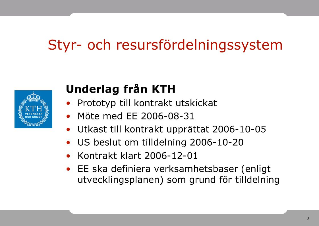 3 Underlag från KTH Prototyp till kontrakt utskickat Möte med EE 2006-08-31 Utkast till kontrakt upprättat 2006-10-05 US beslut om tilldelning 2006-10