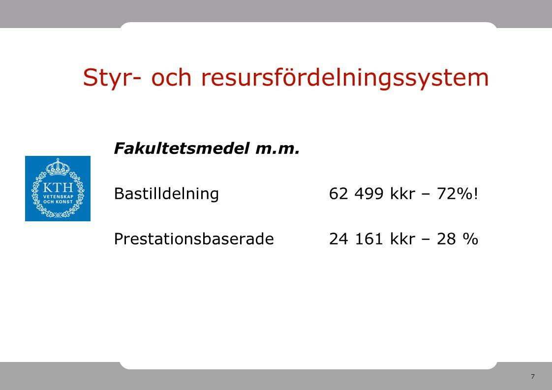 7 Fakultetsmedel m.m. Bastilldelning62 499 kkr – 72%! Prestationsbaserade24 161 kkr – 28 % Styr- och resursfördelningssystem