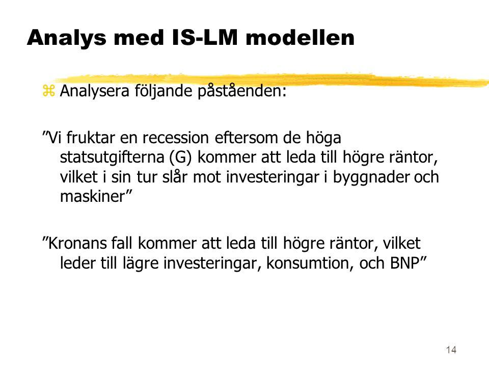 14 Analys med IS-LM modellen zAnalysera följande påståenden: Vi fruktar en recession eftersom de höga statsutgifterna (G) kommer att leda till högre räntor, vilket i sin tur slår mot investeringar i byggnader och maskiner Kronans fall kommer att leda till högre räntor, vilket leder till lägre investeringar, konsumtion, och BNP