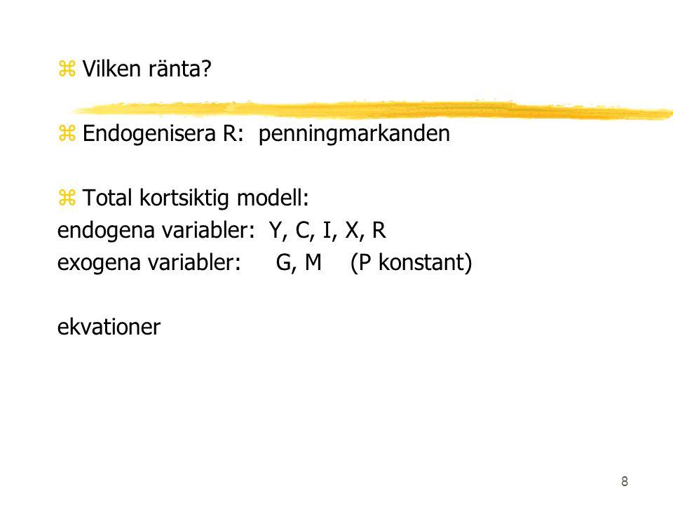 9 IS - kurvan zIS kurvan visar kombinationer av Y och R för vilka Y=C+I+G+X håller Lutning Skift: G