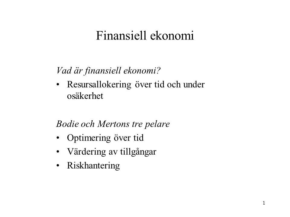 1 Finansiell ekonomi Vad är finansiell ekonomi? Resursallokering över tid och under osäkerhet Bodie och Mertons tre pelare Optimering över tid Värderi