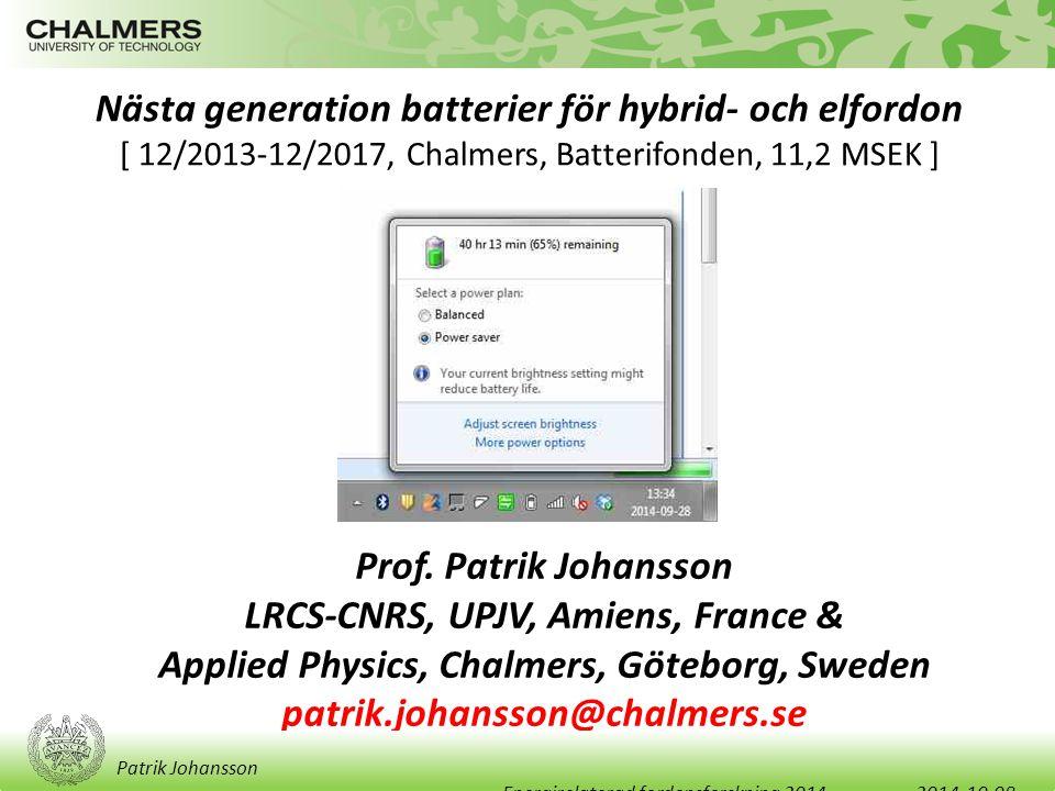 Nästa generation batterier för hybrid- och elfordon [ 12/2013-12/2017, Chalmers, Batterifonden, 11,2 MSEK ] Prof. Patrik Johansson LRCS-CNRS, UPJV, Am