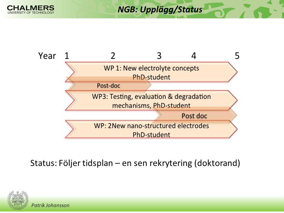 Patrik Johansson NGB: Upplägg/Status Status: Följer tidsplan – en sen rekrytering (doktorand)