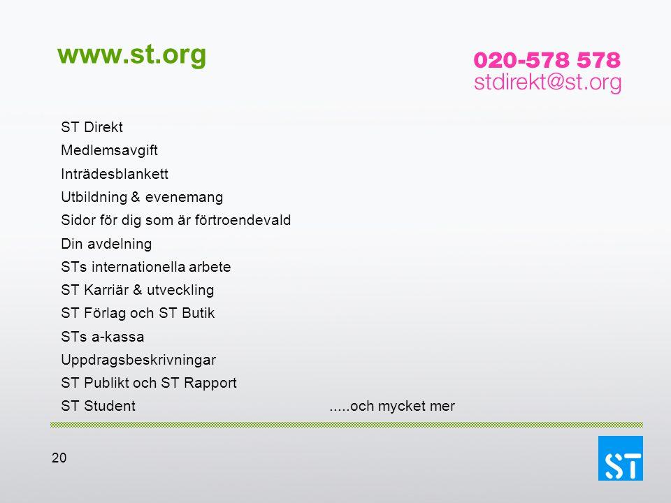 20 www.st.org ST Direkt Medlemsavgift Inträdesblankett Utbildning & evenemang Sidor för dig som är förtroendevald Din avdelning STs internationella ar