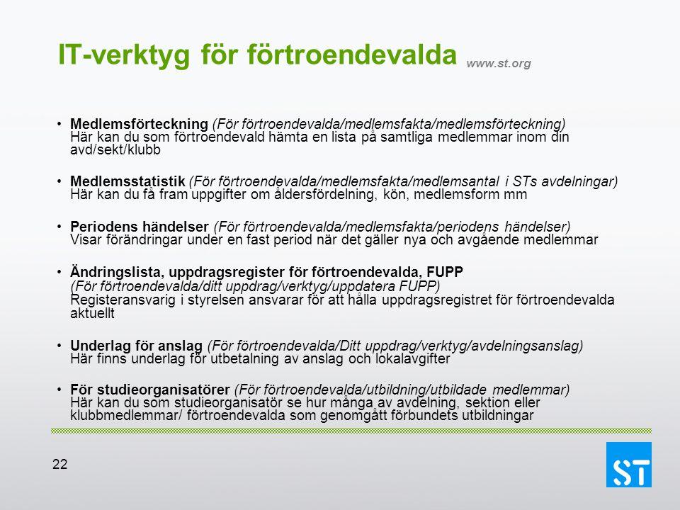 22 IT-verktyg för förtroendevalda www.st.org Medlemsförteckning (För förtroendevalda/medlemsfakta/medlemsförteckning) Här kan du som förtroendevald hä