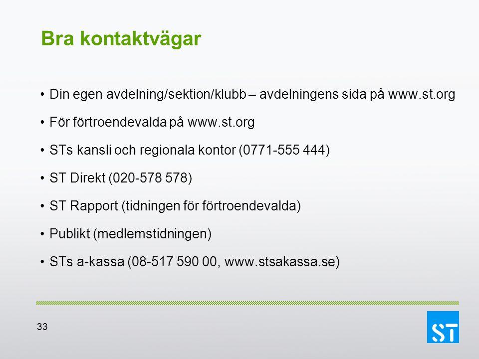 33 Bra kontaktvägar Din egen avdelning/sektion/klubb – avdelningens sida på www.st.org För förtroendevalda på www.st.org STs kansli och regionala kont
