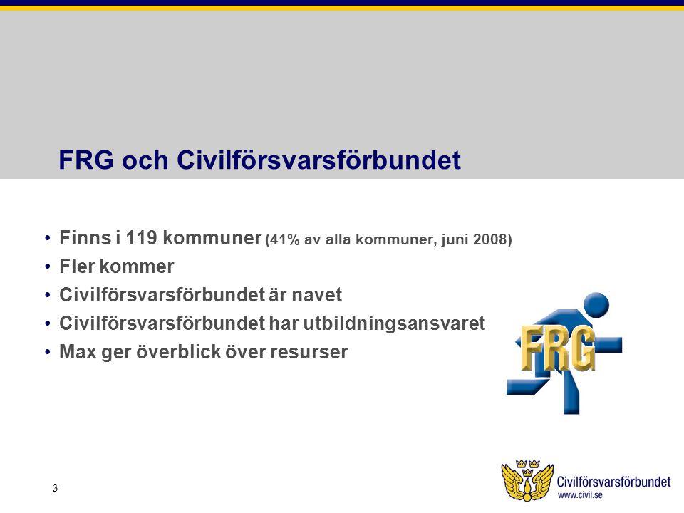 FRG och Civilförsvarsförbundet Finns i 119 kommuner (41% av alla kommuner, juni 2008) Fler kommer Civilförsvarsförbundet är navet Civilförsvarsförbundet har utbildningsansvaret Max ger överblick över resurser 3