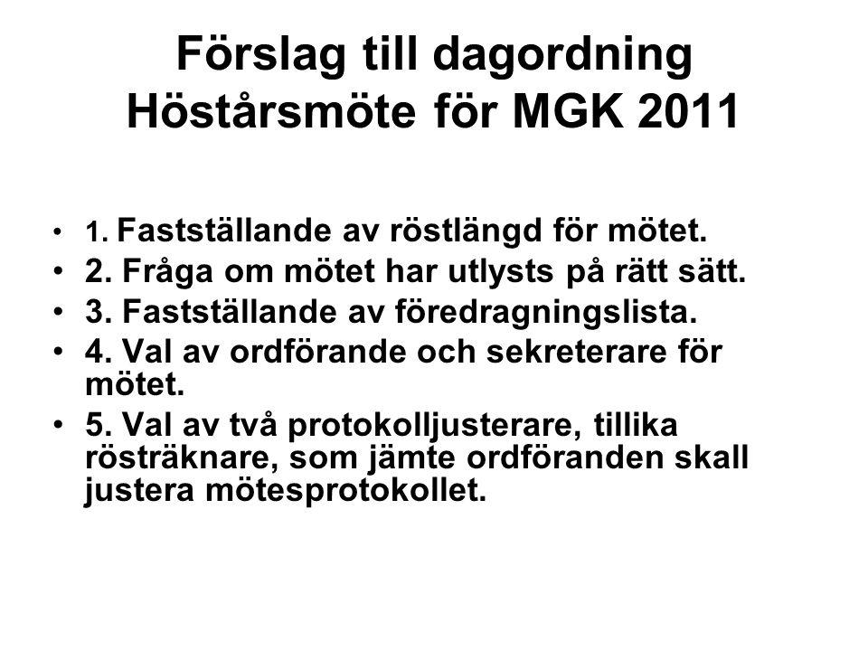 Förslag till dagordning Höstårsmöte för MGK 2011 1. Fastställande av röstlängd för mötet. 2. Fråga om mötet har utlysts på rätt sätt. 3. Fastställande