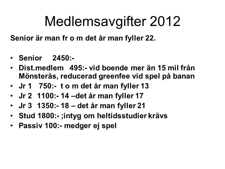 Medlemsavgifter 2012 Senior är man fr o m det år man fyller 22. Senior 2450:- Dist.medlem 495:- vid boende mer än 15 mil från Mönsterås, reducerad gre