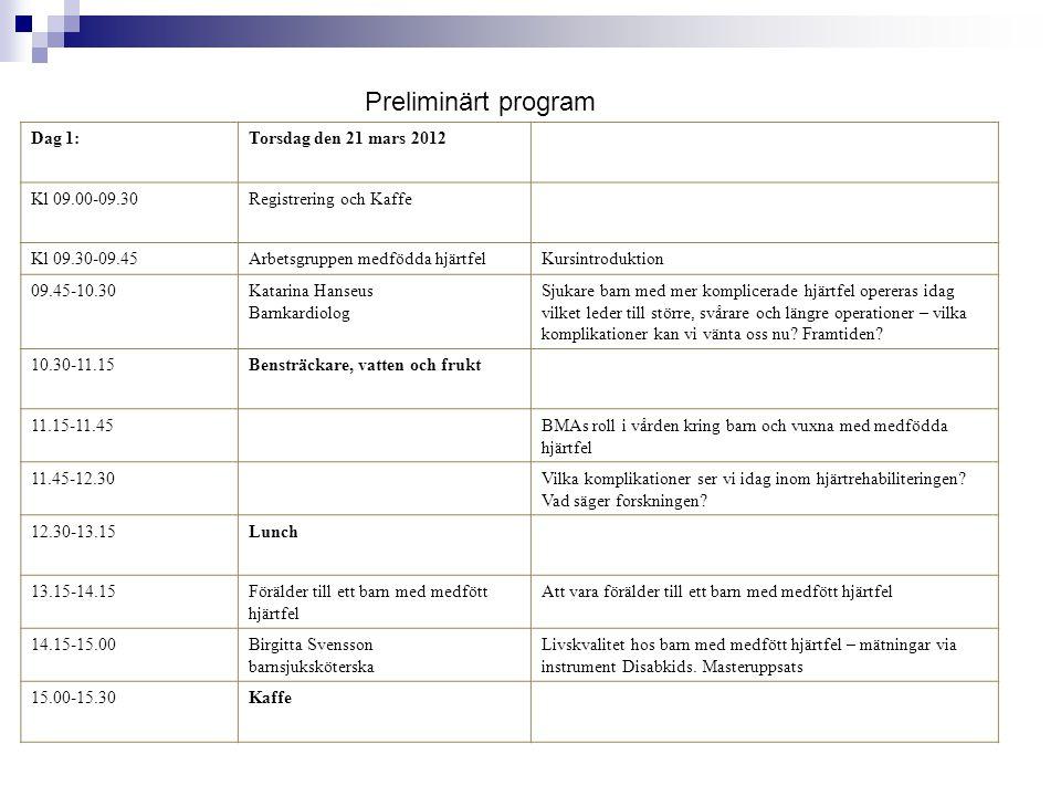 Dag 1:Torsdag den 21 mars 2012 Kl 09.00-09.30Registrering och Kaffe Kl 09.30-09.45Arbetsgruppen medfödda hjärtfelKursintroduktion 09.45-10.30Katarina Hanseus Barnkardiolog Sjukare barn med mer komplicerade hjärtfel opereras idag vilket leder till större, svårare och längre operationer – vilka komplikationer kan vi vänta oss nu.