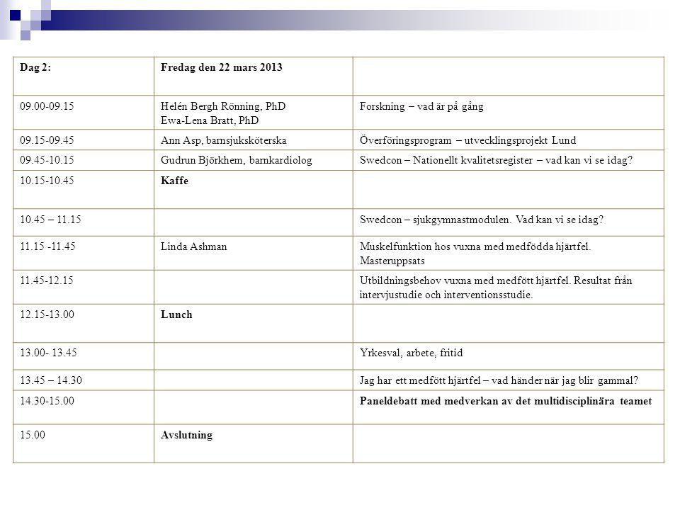 Dag 2:Fredag den 22 mars 2013 09.00-09.15Helén Bergh Rönning, PhD Ewa-Lena Bratt, PhD Forskning – vad är på gång 09.15-09.45Ann Asp, barnsjuksköterskaÖverföringsprogram – utvecklingsprojekt Lund 09.45-10.15Gudrun Björkhem, barnkardiologSwedcon – Nationellt kvalitetsregister – vad kan vi se idag.