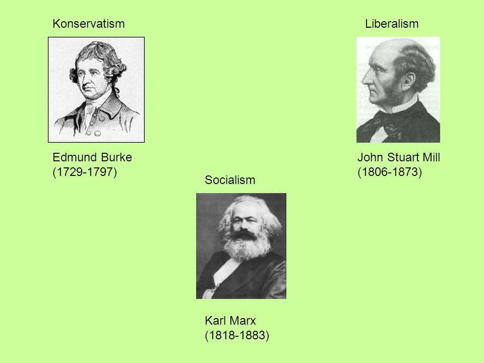 Edmund Burke (1729-1797) John Stuart Mill (1806-1873) Karl Marx (1818-1883) KonservatismLiberalism Socialism