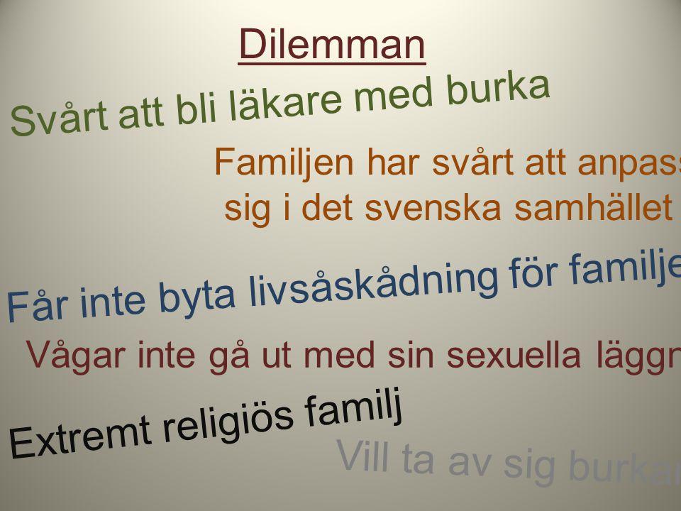 Dilemman Svårt att bli läkare med burka Familjen har svårt att anpassa sig i det svenska samhället Får inte byta livsåskådning för familjen Vågar inte