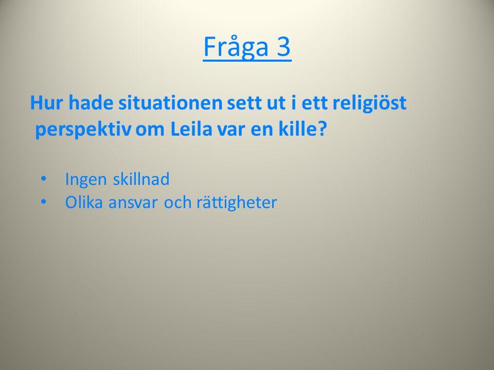 Fråga 3 Hur hade situationen sett ut i ett religiöst perspektiv om Leila var en kille? Ingen skillnad Olika ansvar och rättigheter