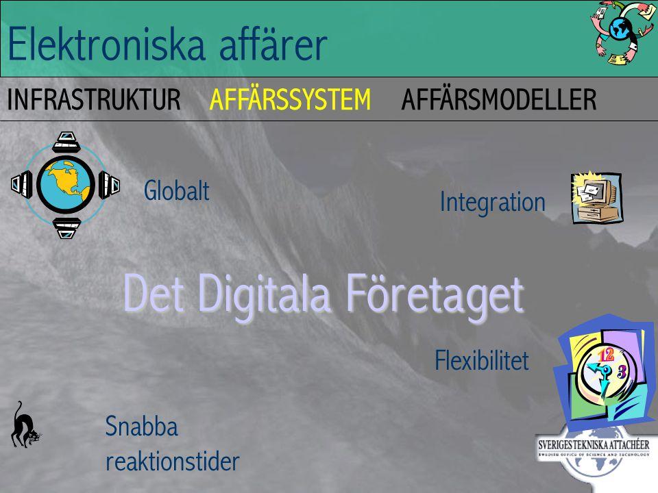 Elektroniska affärer INFRASTRUKTURAFFÄRSSYSTEMAFFÄRSMODELLER Det Digitala Företaget Globalt Snabba reaktionstider Integration Flexibilitet