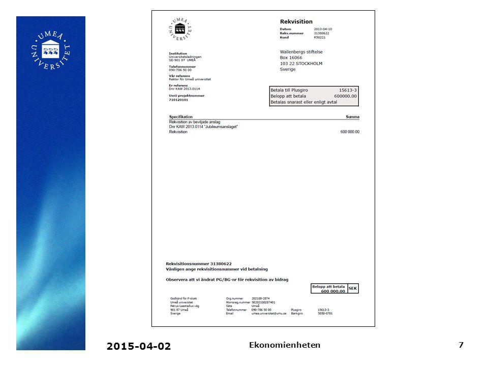 2015-04-02Ekonomienheten8 Fördelar Inga blanketter, passning i skrivare Nya sätt att distribuera faktura e-post Enkel hantering av språk Enkelt ändra vissa texter på fakturan Faktura, Rekvisition Räntefaktura, Betalningspåminnelse