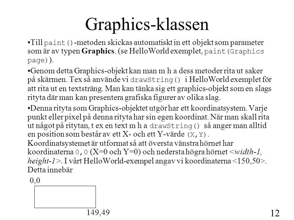 12 Graphics-klassen Till paint() -metoden skickas automatiskt in ett objekt som parameter som är av typen Graphics. (se HelloWorld exemplet, paint(Gra
