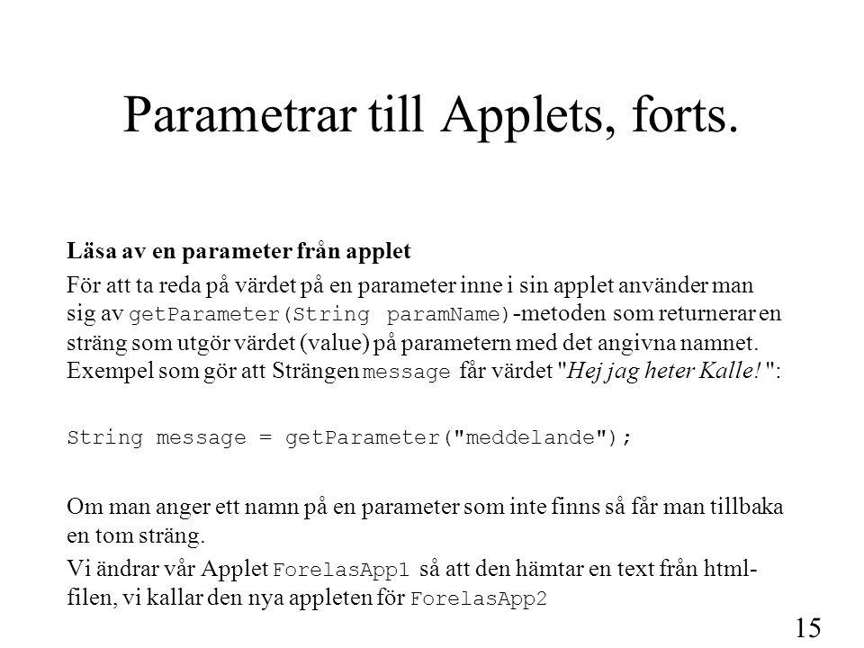 15 Parametrar till Applets, forts. Läsa av en parameter från applet För att ta reda på värdet på en parameter inne i sin applet använder man sig av ge