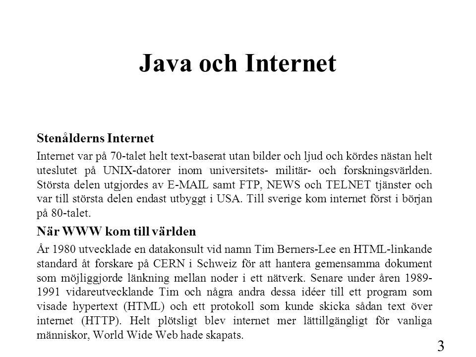 3 Java och Internet Stenålderns Internet Internet var på 70-talet helt text-baserat utan bilder och ljud och kördes nästan helt uteslutet på UNIX-dato