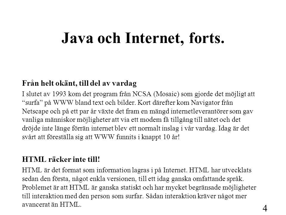 """4 Java och Internet, forts. Från helt okänt, till del av vardag I slutet av 1993 kom det program från NCSA (Mosaic) som gjorde det möjligt att """"surfa"""""""